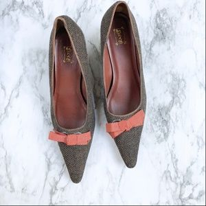 Vintage Brown Tweed Kitten Heels with Bow - 11